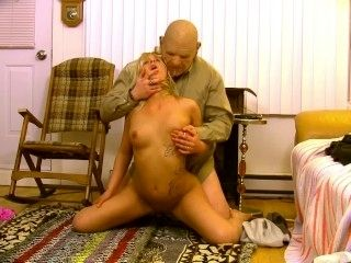 Grandpa Bangs Naive Blonde Teen Caretaker