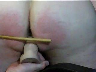 XtraNaughtySlut Wife Spanked With Fat Dildo On Arm of Chair