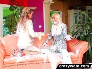 Lesbian Friends get wet and messy on the sofa (2)
