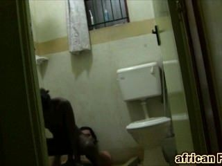 European guy bangs sexy African girl in bathroom and makes her cum