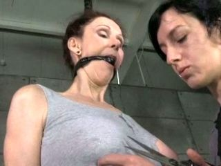 Hard tied and blind folded chick Emma is punished in the torture room