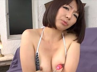 Leggy Asian bitch in sexy stripped bikini Izumi Manaka likes getting her hairy kitty tickled with vibrator