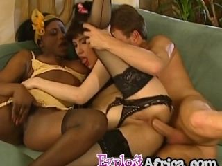 African Babes Sharing Long White Cock In Threesome (3)