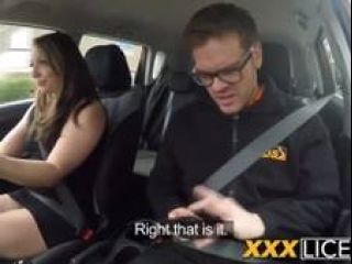 Two Very Hot Babes Are Taking Turn On Driving Instructo S Hard Dick In The Car
