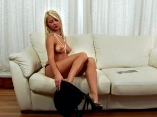 Succulent Anneli Fingers Her Own Pussy Sitting On A Couch