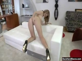 Blond babe takes Roccos big cock in ass