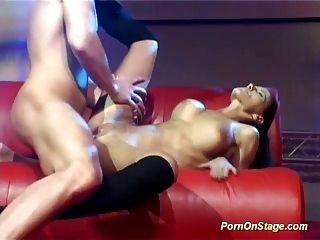 Horny Privat Couple Fucking On Public Show Stage