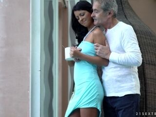 Tanned cutie called Vivien finally has a taste of the hard mature dick