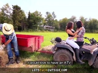 Let's Fuck Outside - Cowgirls gets Fucked by Cowboy in Outdoor Threesome (2)
