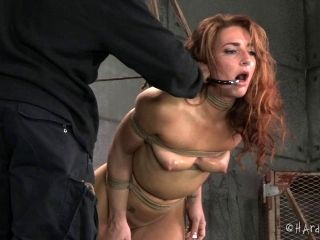 Considerate slaved bimbo with hot ass in bondage being tortured while yelling in BDSM
