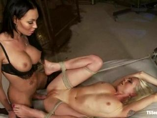 Brunette shemale cougar Mia fucks and tortures a couple