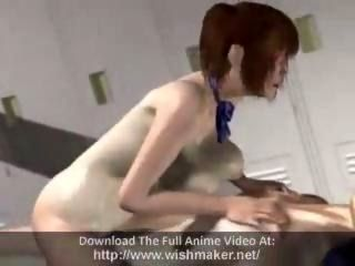 Hot Anime Red Head Swallows Cum From Two Dicks