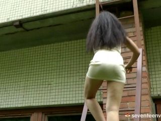 Long Haired And Sassy Teen Spreads Her Legs And Masturbates Warmly Outdoors