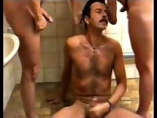 urinal moustached guy quenches thirst