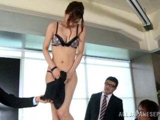 Japanese On The Desk In The Office With Two Cocks For Her Pleasure (2)