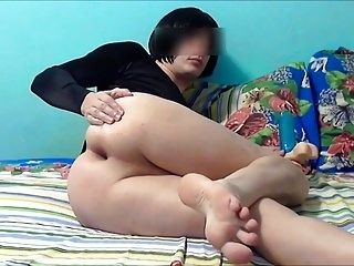 CD sissy playing with dildo and cumshot