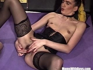 Brunette MILF Sexy Stockings Ass Fingered Pussy Fucked (7)