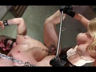 Beautiful Blonde Pegging Guy In Bdsm