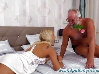 European Teen Eating Old Mans Jizz (2)