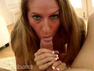 MILF Cougar SARA JAMES Huge Cock POV Blowjob and SWALLOW! VERY NICE! A++
