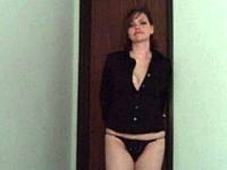 Chick Undresses To Panties And Gives A Blowjob