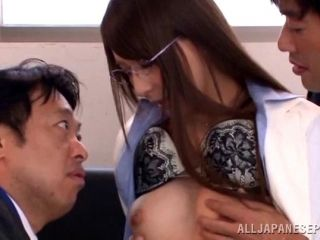 Dazzling Japanese cowgirl getting her pussy fingered and drilled doggystyle in mmf sex (2)