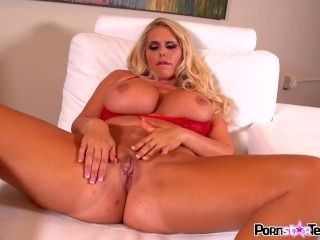Karen Fisher rubs her giant tits and pussy them give you a nice cum