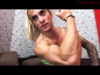 Muscular Blonde Flexing