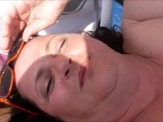 French bbw fondled and sucks Italian stranger on beach - hubby films