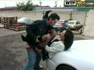 Crazy BJ in the Car and Anal Sex in Public with Amateur Brunette