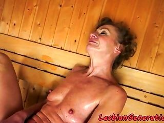 Lesbian Beauty Fingered By Granny In A Spa  (2)