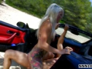 Nasty Blonde Sucks Big White Cock Outdoor On A Car  She