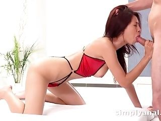 Rough anal sex + ass to mouth for Christy Charming