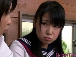 Petite Japanese Schoolgirls Cocksuck In Trio (6)