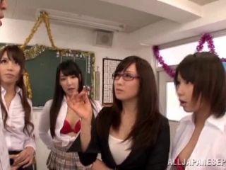 A few salacious Japanese bitches share a dick in hardcore group sex vid (2)