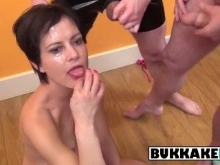 This Dark Haired Mature Gets Cum All Over Her Face And In Her Mouth