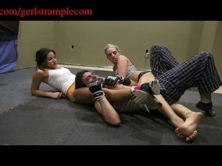 HOT Femdom wrestling with 2 sexy girls