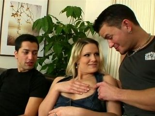 Horny Blonde Masturbates Smooth Punani While Bisexual Guys Give Each Other Blowjob