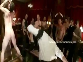 Twing gay boy immobilized in public in front of gay men is humiliated and tortured in group sex