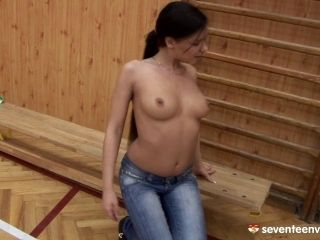 Long And Dark Haired Cowgirl Masturbates Perfectly Using A Smooth Dildo