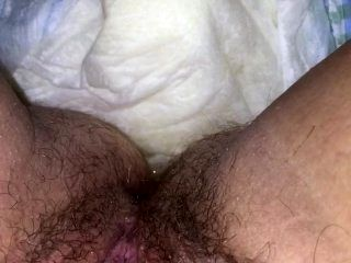 Playing with my Hairy Pussy in my Soaking Wet Diaper