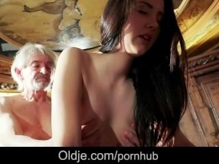 Adorable Teen Girl Seduces Naive Grandpa For Old Cock Cumshot
