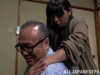 Delightful Asian babes getting banged hardcore by an old man in close up shoot (2)