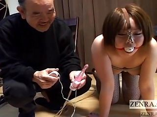 Curvy Japanese woman with nose hooks meets hot wax Subtitled (2)