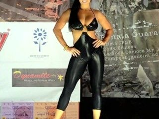 Tight Black Spandex Catsuit And High Heels