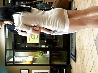 Cute Curvy Asian in skirt with nice legs