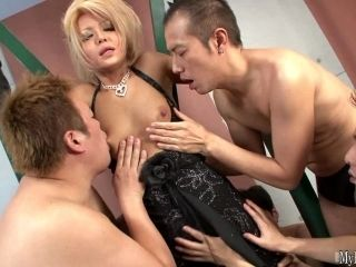 Asian slut Tenshi orders a group of men to use her slutty bodys