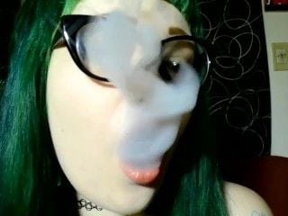 Punk Green Haired Girl Smoking In Glasses