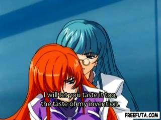 Orange Haired Hentai Is Getting Pounded By A Blue Haired Shemale