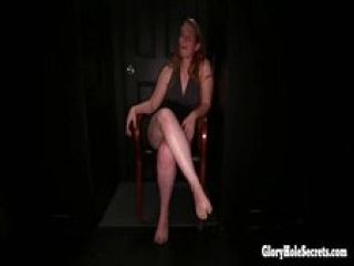 Redhead MILF loves giving blowjobs to stranger at a gloryhole swallowing loads of cum (2)